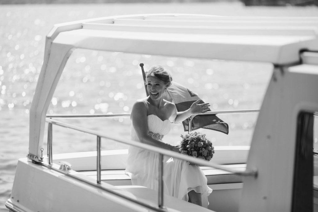 Bride on boat